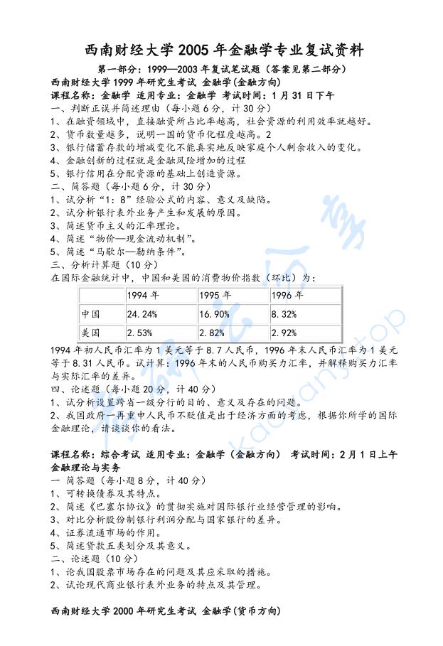 1999-2010年西南财经大学金融学考研复试真题及答案  西南财经大学复试真题 西南财经大学 复试真题 第1张